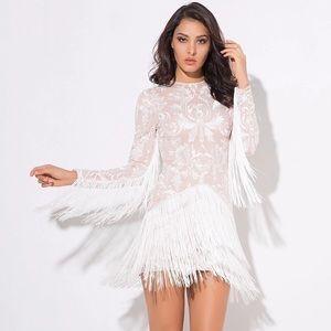 Dresses & Skirts - NWOT White Lace Fringe Dress